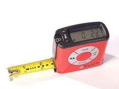 eTape Digital Measuring Retractable Tape Measure Polycarbonate, Red, 16' Length