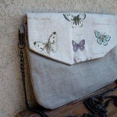 Pochette / sac en bandoulière lin et coton