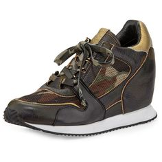 Ash Dean Camouflage-Print Wedge Sneaker ($255) ❤ liked on Polyvore featuring shoes, sneakers, black lace up shoes, camo sneakers, ash shoes, ash sneakers and black shoes