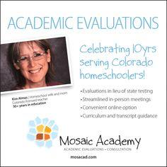 Mosaic Academy Academic Evaluations and Consultations - Home Curriculum, Homeschool, High School Transcript, High School Students, Special Needs, Textbook, Mosaic, Teacher, Messages