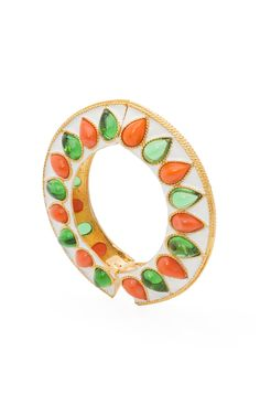 Kenneth Jay Lane White Enamel Bracelet with Emerald and Coral Cabochons
