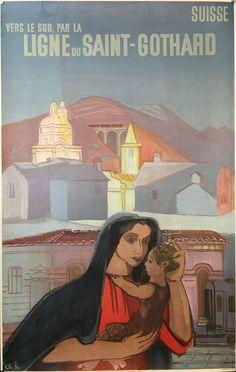 VALAIS TESSIN CFF Ligne du Saint-Gothard Jack Kerouac, Vintage Travel Posters, Retro, Disney Characters, Fictional Characters, Saints, Aurora Sleeping Beauty, Classic, Artwork