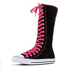 660d213dfbebb9 DW Women s Tall Canvas Lace Up Knee High Sneakers (7 B(M) US
