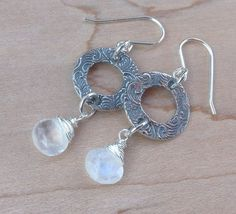 AA Moonstone Briolette and Sterling Silver Disk by MingJewelsChic