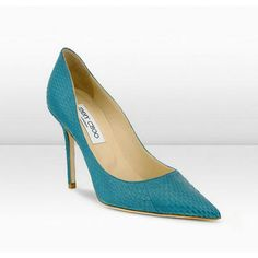 Jimmy Choo 'Abel' 100mm Teal Matte Elaphe Snakeskin Pointy Toe Pumps