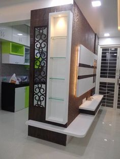 Browse images of modern Living room designs: 2 BHK RESIDENTIAL PROJECT Find the best photos for ideas & inspiration to create your perfect home. Living Room Partition Design, Room Partition Designs, Tv Wall Design, Ceiling Design, Room Partition Wall, Tv Unit Design, Open Kitchen And Living Room, Living Room Tv Unit, Living Room Modern