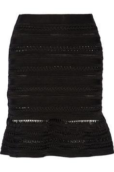 Hervé Léger Braided stretch-knit mini skirt