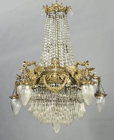179: French Empire style gilt bronze chandelier : Lot 179