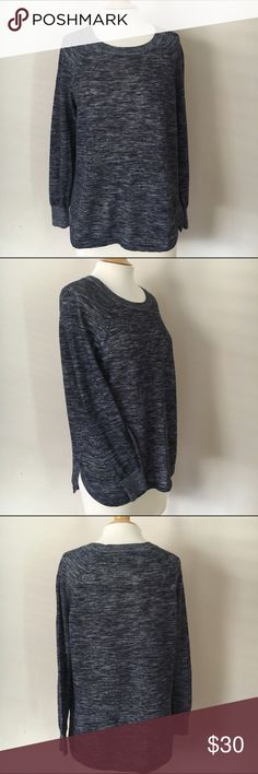 J. CREW Marled Sweater Blue marled crew neck sweater. Rounded hem that is slightly longer in back. J. Crew Sweaters Crew & Scoop Necks