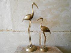 Tall pair of brass birds mid century 50's 60's by Birdycoconut