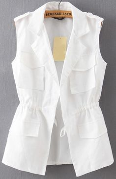 abaday offers White Lapel Drawstring Waist Epaulet Vest & more to fit your fashionable needs. Casual Hijab Outfit, Edgy Outfits, Cool Outfits, Look Fashion, Hijab Fashion, Fashion Outfits, Street Fashion, Blouse Styles, Blouse Designs
