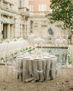 Ghost chairs + dramatic candlelight = an elegant outdoor reception : Wedding Reception Venues, Wedding Chairs, Wedding Table, Reception Ideas, Reception Party, Ghost Chair Wedding, Reception Design, Sage Wedding, Garden Wedding