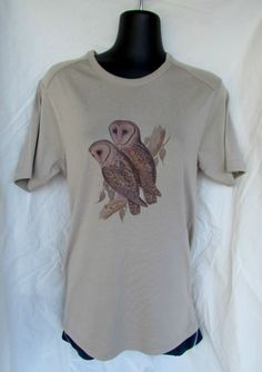 Ladies top t-shirt OWL print size small soft brown women's. ONE ONLY.
