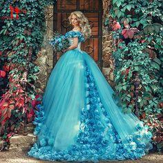 2016 Blue Cloud Photo Prom Evening Dresses Long Tulle Long Cheap Sexy Vestido De Noiva Puffy Ruffle Robe De Mariage Said Mhama