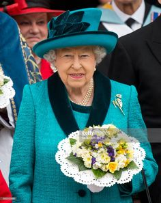 Queen Elizabeth II attends the Royal Maundy service at Leicester Cathedral on April 13, 2017 in Leicester, England. The Queen