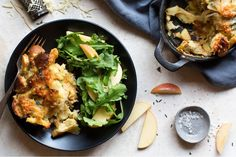 caramelized-parsnip-strata-with-arugula-apple-salad