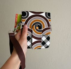 Items similar to SALE - Fun Print - Smaller Phone Wallet with Card Slots and Zipper- Leather Wrist Strap on Etsy Hot Butter, Old Phone, Some Cards, Phone Wallet, Fun Prints, Keep It Cleaner, Slot, Favorite Color, My Design