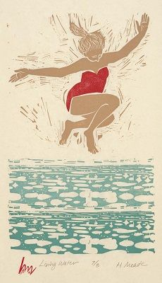 Living Water - Linoleum and Woodblock Print by Holly Meade