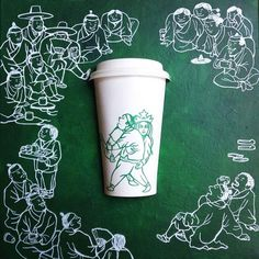Starbucks Art – The amazing and hilarious hijacked paper cups of Soo Min Kim   Notey