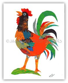 Rooster art Original rooster collage by JackieGuttusoDesigns, $75.00