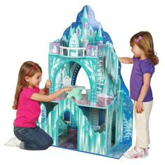 Wooden Doll House Mansion Large Ice Castle Girls Play Frozen Disney Princess #woodendollhouse #icecastlemansion #girlsplay #princess