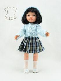 Conjunto falda escocesa con rebeca y gorro de punto