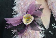 Women's Scarf PinPink/Black Brooch PinTulle by GinasCornerCrafts, $18.00