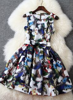 Organza Slim Butterfly Print Dress