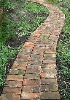 Garden Yard Ideas, Garden Paths, Back Gardens, Outdoor Gardens, Brick Pathway, Garden Stepping Stones, Woodland Garden, Garden Landscape Design, Garden Structures