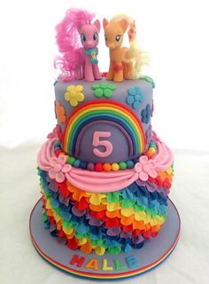 my little pony rainbow frill 2 tier rainbow sponge birthday cake