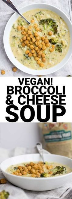 Vegan Roasted Broccoli & Cheese Soup: a vegan take on a classic! Healthy ingredients like nutritional yeast, roasted broccoli, roasted garlic, and onion make up this easy soup! Naturally gluten free. #BRMNewYear @bobsredmill || fooduzzi.com recipe