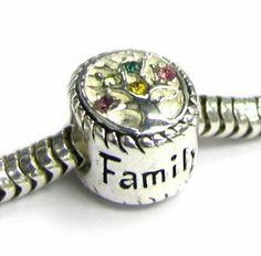 Queenberry Mother's Day gift Sterling Silver Family Tree Of Love Pink Rose Yellow Green CZ Crystal Bead 10mm For Pandora Troll European Charm Bracelets Queenberry. $18.98