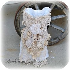 shabby wine gift bag vintage linen and lace by auntcarriesattic 2950