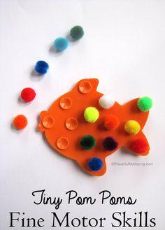 Tiny Pom Pom Fine Motor Skills.  Visit pinterest.com/arktherapeutic for more #finemotor ideas