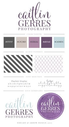Logo and brand board for Caitlin Gerres Photography by Heart & Arrow Design