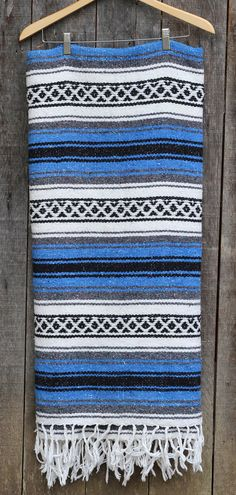 Vintage Mexican Serape / Woven Tribal Wall Hanging /  Vintage Southwest Blanket / Boho Textile / Blue / White / Black / Grey on Etsy, $48.00