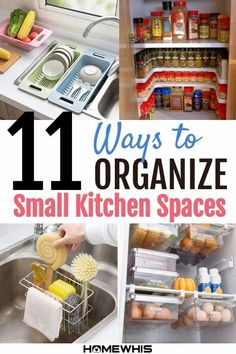 11 Kitchen Storage Ideas For Small Spaces - Homewhis Freezer Organization, Countertop Organization, Kitchen Cabinet Organization, Kitchen Cupboards, Kitchen Storage, Storage Spaces, Storage Ideas, Beautiful Kitchen Designs, Beautiful Kitchens