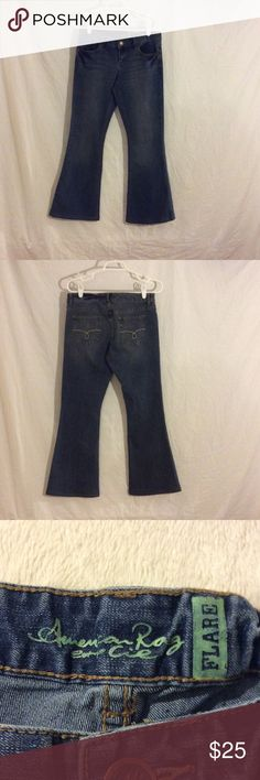 American Rag Cie Flare Jeans, Size 2/4 These jeans are in great condition. The tag was removed and I can't remember if the were a size 2 or size 4. Other than the tag being gone they look amazing.  They have been taken up as well.  Waist is 15 1/2 Inches Hips are 17 Inches Length is 29 Inches American Rag Jeans Flare & Wide Leg