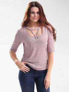 Purple Sexy Hollow Out Half Sleeve Women Slim T-shirts