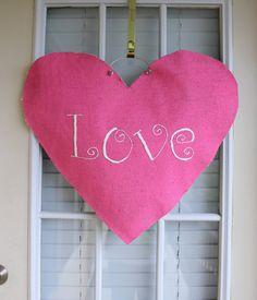 Burlap Valentine Door Hanger. $32.00, via Etsy.