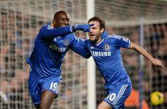 Chelsea duo Juan Mata and Demba Ba celebrate their third goal against Southampton.