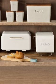 White Contemporary Metal Bread Bin from Next