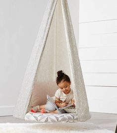 Hanging Tee Pee Chair Such a cute idea for the kids Kids Hanging Chair, Hanging Tent, Swinging Chair, Diy Hanging, Hanging Chairs, Chair Photography, Patterned Chair, Kids Tents, Small Accent Chairs