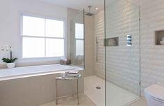 Bathroom Wall Tiles Continue Into Shower, Modern, Bathroom