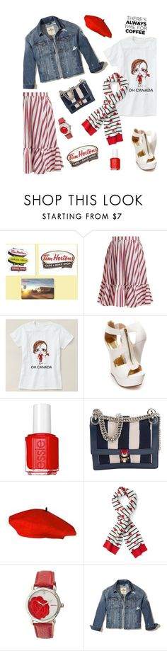 """Buzz-Worthy"" by dianefantasy ❤ liked on Polyvore featuring MSGM, Essie, Fendi, Bertha, Hollister Co. and CoffeeDate"