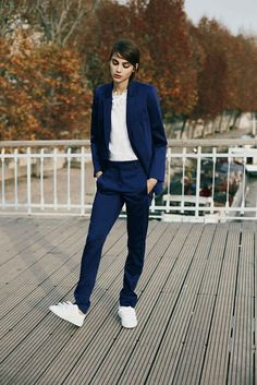 navy suit & white sneakers #outfit