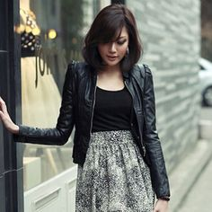 2013 women fashion dress short design leather clothing female outerwear  spring leather jacket motorcycle clothing-inLeather   Suede from Apparel ... 721ae9c007e