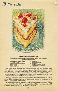 Vintage Strawberry Meringue Cake recipe. #vintage #desserts