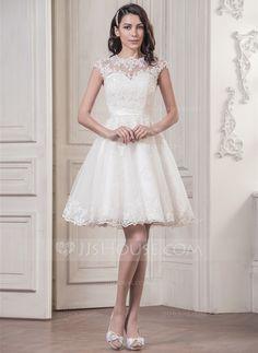 Forme Princesse Col rond Longueur genou Satiné Tulle Robe de mariée avec Motifs appliqués Dentelle (002058763) - JJsHouse