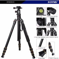 83.00$  Buy here - http://aliqwh.worldwells.pw/go.php?t=32787329895 - Zomei Z688 Q666 Professional Photographic Travel Compact Aluminum Heavy Duty Tripod Monopod&Ball Head for Digital DSLR Camera 83.00$